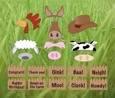 Farm Animals Photo Booth props printable DIY barnyard birthday party photobooth by redmorningstudios on Etsy https://www.etsy.com/listing/183797066/farm-animals-photo-booth-props-printable