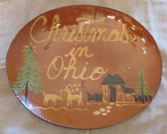Christmas in Ohio Redware Oval Plate, Large