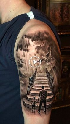 Stair to heaven tattoo by Stefan. Limited Availability at newtestamenttattoo stu… Stair to heaven tattoo by Stefan. Limited Availability at newtestamenttattoo studio Sky Tattoos, Daddy Tattoos, Father Tattoos, Forearm Tattoos, Body Art Tattoos, Tattoos For Guys, Family Tattoos For Men, Sternum Tattoo, Stairway To Heaven Tattoo