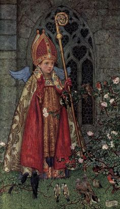 Illustrations from: The Book of Old English Songs and Ballads, illustrated by Eleanor Fortescue-Brickdale St Valentine, depicted as a boy bishop Cupid Indicted Valentines Day Poems, Valentines Day History, Catholic Saints, Patron Saints, Catholic Catechism, Roman Catholic, Culture Day, Pre Raphaelite, Saint Valentine