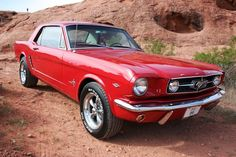 1965 Mustang Coupe 289 in bright red. #Classic #American #MuscleCar