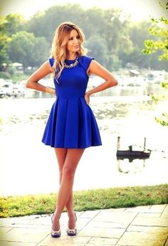 Looking for a sexy short dress for graduation or summer parties?This dress with cap sleeves and ruffled skirt makes you look like a princess in any occasion!And the color royal blue is popular!The length is short,will let your beautiful legs stand out!