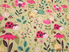 Flannel Fabric  Sweet Bugs  1 yard  100% Cotton by SnappyBaby