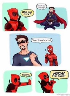 Deadpool is just deadpool - Deadpool is just deadpool -You can find Batman and more on our website.Deadpool is just dea. Avengers Humor, Funny Marvel Memes, Dc Memes, Marvel Jokes, Funny Comics, Funny Memes, Marvel Dc Comics, Marvel Avengers, Marvel Fan