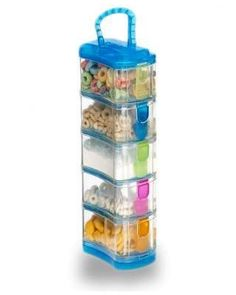 This dishwasher-safe stackable container keeps 5 snacks separate—perfect for kids who are picky eaters and don't like their foods to touch! Click above to buy one.