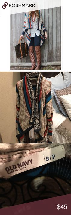 Just In Old Navy Cardigan Adorable tribal printed , open front cardigan in EXCELLENT condition! Worn no more than 5x. This cardigan is perfect for layerin as shown in 1st photo. Size small but is oversized so can fit up to a large. NO TRADES Old Navy Sweaters Cardigans