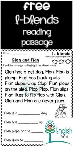 reading passages with consonant blends www.worksheetsenglish.com