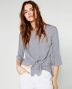 Image 2 of BLOUSE WITH FRONT KNOT from Zara