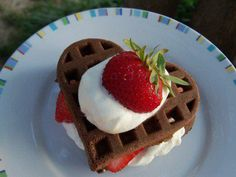 Chocolate Waffles for Breakfast !! recipe for chocolate waffle here : http://www.foodnetwork.com/recipes/alton-brown/chocolate-waffle-recipe/index.html