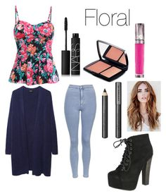 """""""Floral shirt"""" by jayasood ❤ liked on Polyvore featuring Zucca, Topshop, NARS Cosmetics, Lancôme, Breckelle's, Urban Decay and Burberry"""