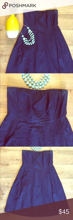 J. Crew Blue Strapless Dress with Pockets This dress is lightweight and perfect for summer- great for weddings!  Extra strap with 2 adjustments in the chest to keep it in place.  Zipper back and side pockets!! Like new.  EUC J. Crew Dresses