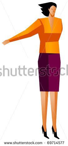 businesswoman handsup - stock vector
