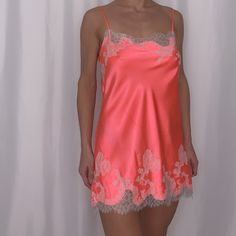 victorias secret neon pink silky slip dress size small bust - length polyester no trades - Sold by Aesthetic Fashion, Aesthetic Clothes, Cute Dresses, Cute Outfits, Lace Up Bodycon Dress, Loungewear Outfits, Victoria Secret Outfits, Pretty Lingerie, Winter Fashion Outfits