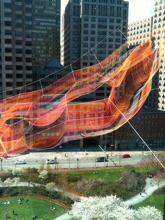 Janet Echelman Suspends Massive Aerial Sculpture Over Boston's Greenway,© Melissa Henry