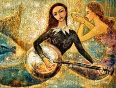 """UnderSea"" oil on linen 2006. 46x58 © Shijun Munns, art print are now available in Etsy: https://www.etsy.com/listing/206336218/mermaids-playing-music-under-sea-blue?ref=shop_home_active_2   #Art #OilPaintings #painting #Mermaid #Portrait #artist #artwork #originalart #artist #homedecor #wallart #gallery #exhibit #create #collection #women #fantasy #shijunart #shijunmunns"