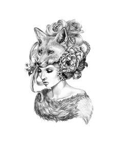 'Forgotten Crab Apples' by April Alayne - #fox #portrait #sketch