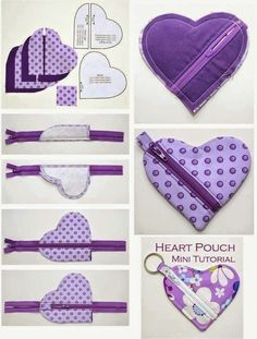 Trousse en coeur - Abd My Site Small Sewing Projects, Sewing Projects For Beginners, Sewing Hacks, Sewing Tutorials, Bag Patterns To Sew, Sewing Patterns, Fabric Crafts, Sewing Crafts, Diy Couture