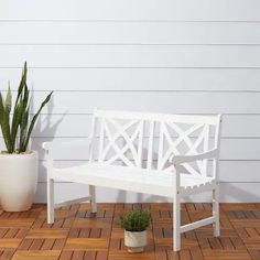 Shop this vifah bradley outdoor wood garden bench in white from our top selling Vifah benches. PatioLiving is your premier online showroom for patio seating and high-end outdoor furniture. Outdoor Garden Bench, Wooden Garden Benches, Patio Bench, Outdoor Gardens, Outdoor Decor, Outdoor Benches, White Outdoor Bench, White Garden Bench, Outdoor Living