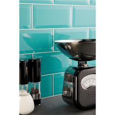 Close up of turquoise splashback tiles