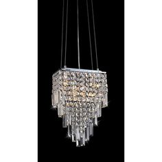 $179.99 Eve Beeded 4-light Chandelier | Overstock.com - Draped in sparkling crystal, this elegant Eve Beeded chandelier features a tiered design. This light fixture is highlighted by a matte silver finish