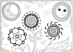sun, moon, butterflies, & flower mandala colouring page | from hattifant