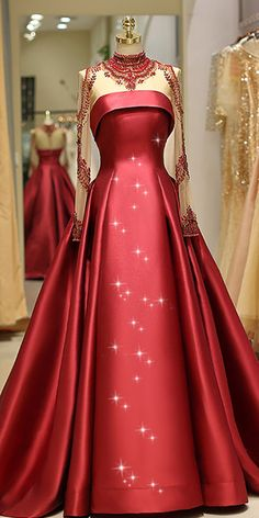 Brilliant Satin High Collar Floor-length A-line Evening Dress With Beadings Ball Dresses, Nice Dresses, Ball Gowns, Prom Dresses, A Line Evening Dress, Evening Dresses, Emerald Prom Dress, Walima Dress, Dream Wedding Dresses