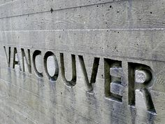 building sign indented into a board form concrete wall. Cement Walls, Concrete Cement, Concrete Building, Concrete Sculpture, Wayfinding Signage, Signage Design, Environmental Graphics, Environmental Design, Board Formed Concrete