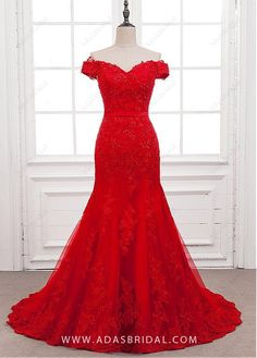 Fabulous Tulle Off-the-shoulder Neckline Mermaid Formal Dress With Beaded Lace Appliques - Adasbridal.com