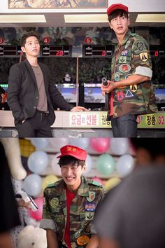 Song Joong Ki and Lee Kwang Soo on the set of Descendants of the Sun