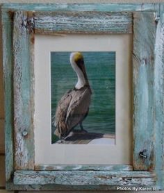 Love the blue stained driftwood frame.  Beach House Photography in Key West Crab by CoastalCandlesShop, $55.00