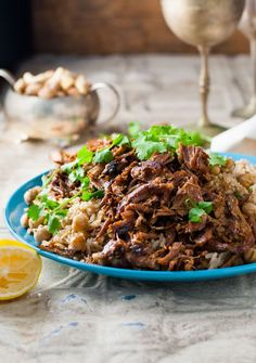 Shredded lamb loaded with classic Middle Eastern flavours, pan fried to golden perfection and served with a chickpea rice pilaf. FAST to prepare!