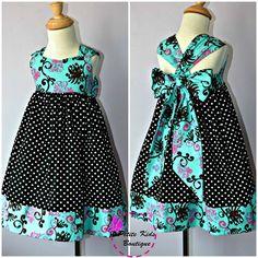 Ella Dress For Girls 12M-8Y PDF Pattern & Instructions - full skirt, elastic back, easy sew, contrasting hem, big bow, sweetheart bodice via Etsy