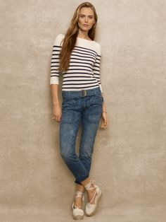Striped Cashmere Boatneck - Blue Label Collection - RalphLauren.com / Love this paired with boyfriend jeans & drilles.