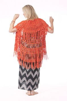 Gypsy Shrug in Orange & Maxi Zig Dress in Black & Stone