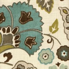 Close Up Of The Fabric I Love Teal Green Brown Grey
