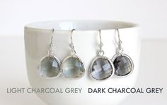 Charcoal Grey Earrings Silver Gray Earrings Light by 53Countesses