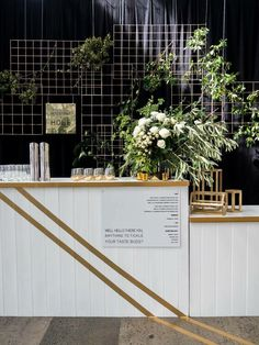 •Wedding bar signage & backdrop •Simply pop up bar concept •Green florals…