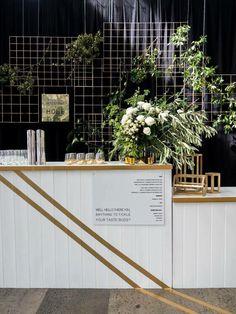 •Wedding bar signage & backdrop •Simply pop up bar concept •Green florals…