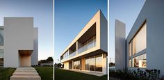 """Portuguese architecture studio Atelier Nuno Lacerda Lopes has designed the three story, contemporary Paramos House in Espinho, Portugal.         Paramos House by Atelier Nuno Lacerda Lopes: """"Paramos House has a striking contemporary design that goes above and beyond the standardized and canonical models of today's usual housing solutions. Volumetrically, this solution presents the residential home as a game. It highlights an articulation of volumes, with variations between opaque and…"""