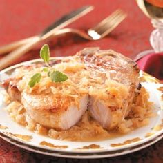 German Pork Chops Recipe | Taste of Home Recipes -- made these often thru the years, except i layer things: browned chops, applesauce, brown sugar, and cover with kraut.  Going to try it mixed once (without caraway, hubs doesn't care for the taste).