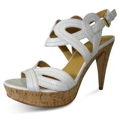 Nine West Women's Talltales Platform Sandal White (7.5, White)