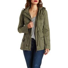 Charlotte Russe Olive Convertible Hooded Twill Anorak Jacket by... ($40) ❤ liked on Polyvore featuring outerwear, jackets, olive, olive twill jacket, olive anorak, olive anorak jacket, anorak jackets and long sleeve jacket