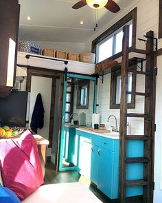 (2/2) A 270 sq.ft. tiny house with main floor queen bed and a king loft. In the kitchen is the home's namesake: a vintage 1940s steel Youngstown by Mullins sink!. View more pictures and details through our profile link!. #tinyliving #tinyhouseliving #tinyhouse #tinyhouses #tinyhome #tinyhomes #tinyhousemovement #thow #tinyhouseonwheels #tinyhomeonwheels #tinyhousenation #tinyhouselife #tinyhouselove #minimalism #smallhomes #simpleliving #hgtv #diynetwork #tinyhousebigliving #tinyhousebuild…