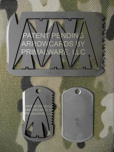 These look like a good addition to any emergency preparedness kit. 5 Point Arrowcards are $20.00 + tax and shipping Dogtag Arrowcards (with rubber silencer and chain) are $15.00 + tax and shipping