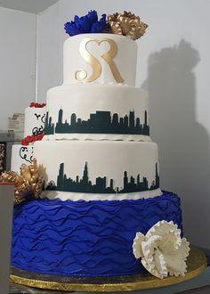 Calumet Bakery Nashville-Chicago Skyline Cake with custom monogram