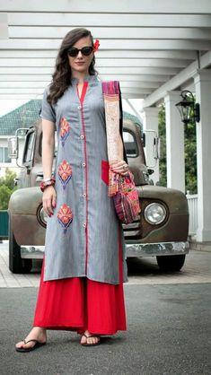 Kurti with print patches Ethnic Outfits, Indian Outfits, Trendy Dresses, Fashion Dresses, Asian Style Dress, Kurta Style, Kurta Neck Design, Saree Dress, Kurta Designs