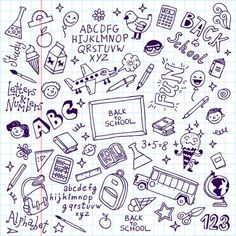 📷 Royalty-free image: Back to School Supplies Sketchy Notebook Doodles with Lettering, Shooting Stars, and Swirls- Hand-Drawn Vector Illustration Design Elements on Lined Sketchbook Paper Background Alphabet School, Notebook Doodles, Doodle Background, Pineapple Art, Drawing Letters, Doodle Drawings, Hand Drawings, Free Vector Art, Design Elements