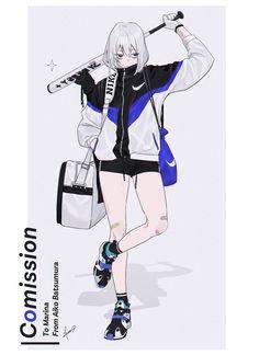 """バツムラアイコ on Twitter: """"⚾️ -- commission.… """" Cool Anime Girl, Anime Art Girl, Manga Girl, Character Concept, Character Art, Concept Art, Clothes Draw, Character Design References, Manga Drawing"""