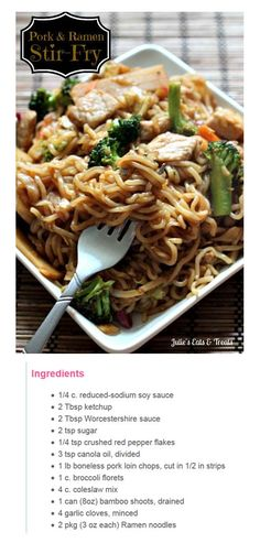 Whisk first five together in small bowl. In large skillet, heat 2 tsp oil over med. heat. Add pork+cook til no longer pink. Remove from pan. Add remaining oil to pan+cook broccoli for 3 min.. Add coleslaw mix, bamboo shoots+garlic. Stir Fry 3-4 min. or til broccoli is crisp-tender. Stir in soy sauce mix+pork. Heat through. Meanwhile, cook noodles according to pkg . Discard seasoning mix from Ramen noodles. Drain+add noodles to pork mixs. Toss to mix.
