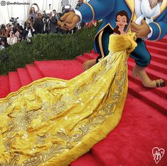 This Artist Flawlessly Photoshops Disney Characters Into Celebrity Photos / Belle just casually slaying at the Met Gala (in Rihanna's iconic gown) Disney Couples, Disney Love, Disney Magic, Disney Princess Art, Real Princess, Heros Disney, Disney Characters, Disney Princesses, Disney And Dreamworks